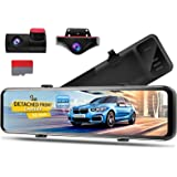 PORMIDO 12 inch Mirror Dash Cam with Detached Front Camera 360°,Anti Glare Touch Screen Full HD 1920P,Car Rear View…