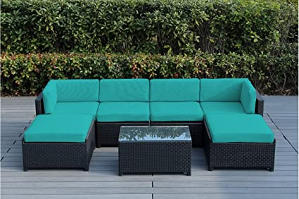 Ohana Mezzo 7-Piece Outdoor Wicker Patio Furniture Sectional Conversation Set with Weather Resistant Cushions (Turquoise-04)
