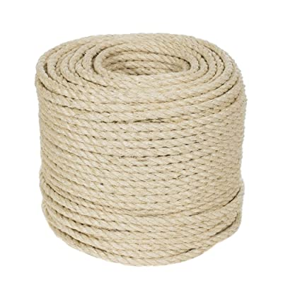 Twisted Sisal Rope (1/2 Inch, 10 Feet) - Decor, DIY Projects, Scratching Post, Marine, Tie-Downs, Wicker Chair