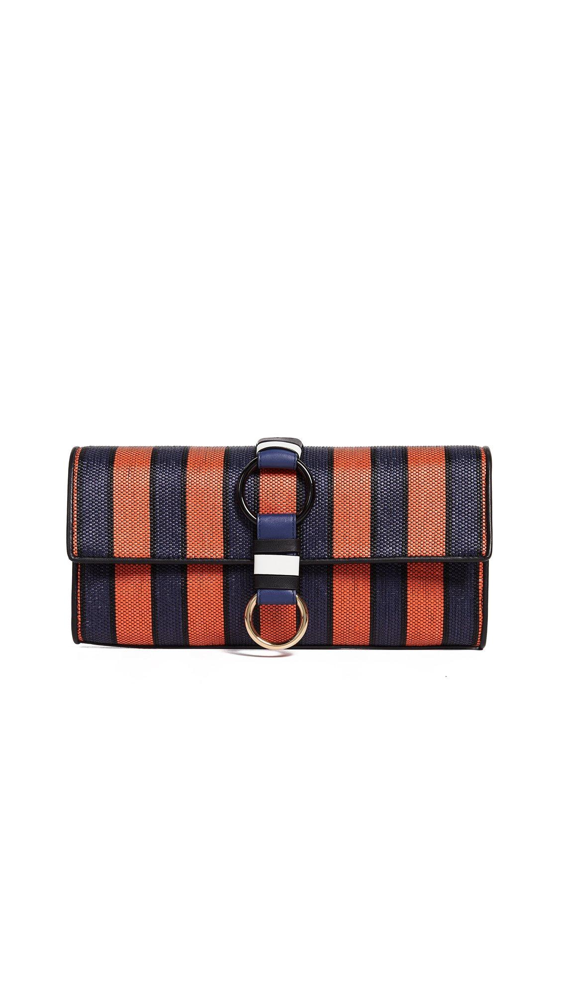 Diane von Furstenberg Women's Clutch, Midnight/Orange/Black, One Size