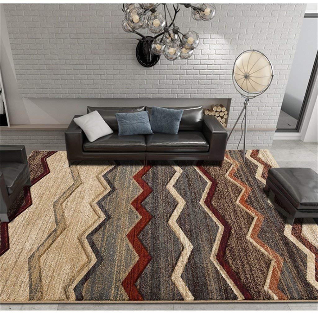 カーペット現代のカーペットのリビングルームビジネスヨーロッパのコーヒーテーブル毛布北欧長方形のベッド毛布寝室のカーペットストライプ120 * 170 cm (サイズ さいず : 120*170CM) 120*170CM  B07PG36HH5
