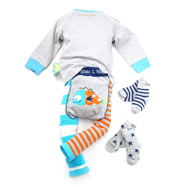 Blue Talla:0-6 meses Leggings para pescado Grey Orange Blade /& Rose