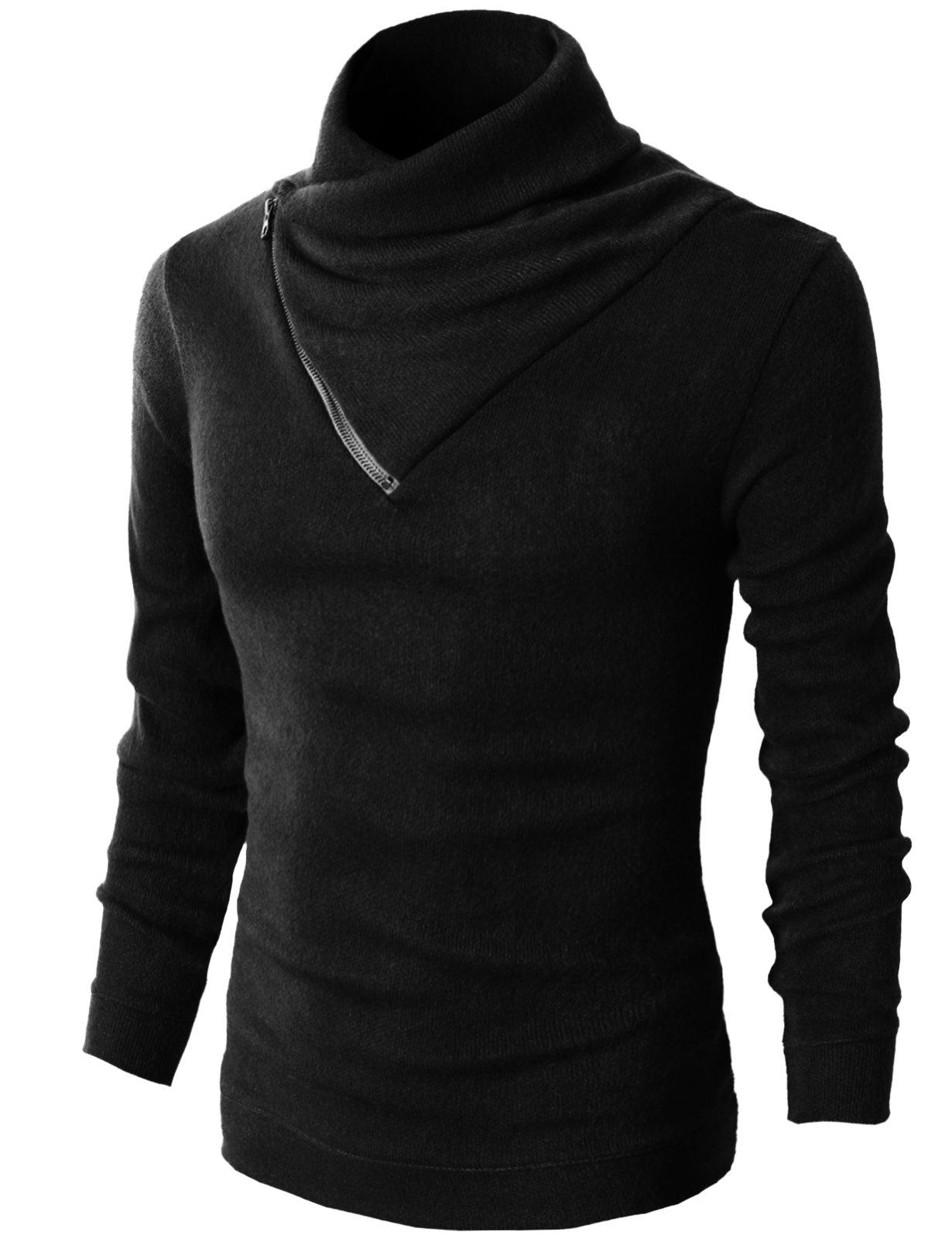 H2H Mens Fashion Turtleneck Slim Fit Pullover Sweater Oblique Line Bottom Edge BLACK US M/Asia L (KMTTL041)