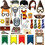 TMCCE 38pcs Magical Wizard Party Photo Booth Props,Wizard Castle Party Photo Booth Props, Magical Wizard School Party Favors