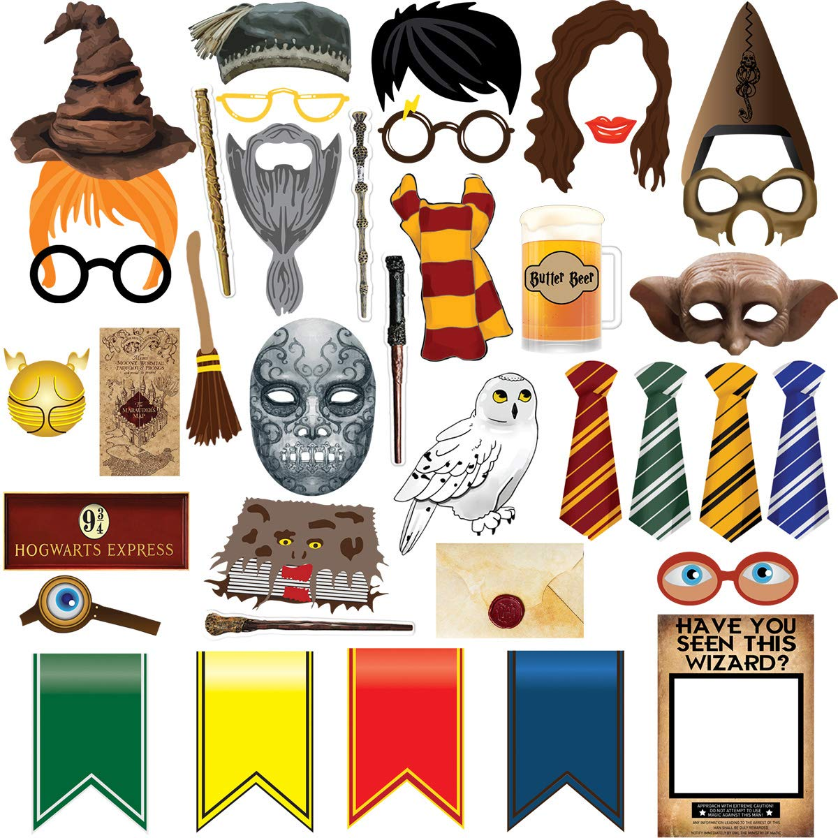 TMCCE 38pcs Magical Wizard Party Photo Booth Props,Wizard Castle Party Photo Booth Props, Magical Wizard School Party Favors Supplies For Kids Children Birthday Party Decoration