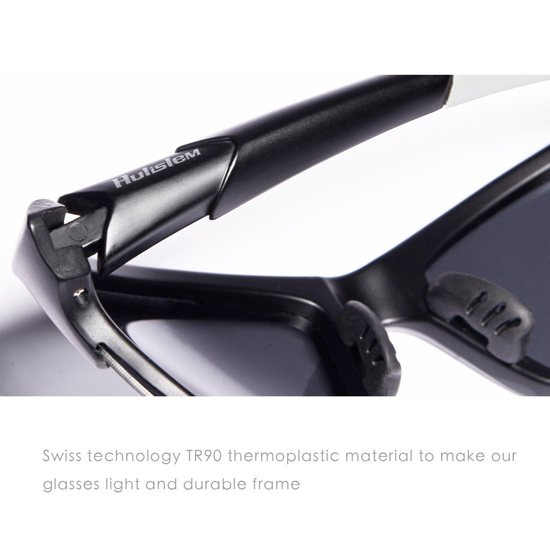 e1f60c80bd Hulislem S1 Sport Polarized Sunglasses Sunglasses for Men Women Mens Womens  Running Golf Sports FDA Approved (Matte Black-Smoke)  Amazon.in  Sports