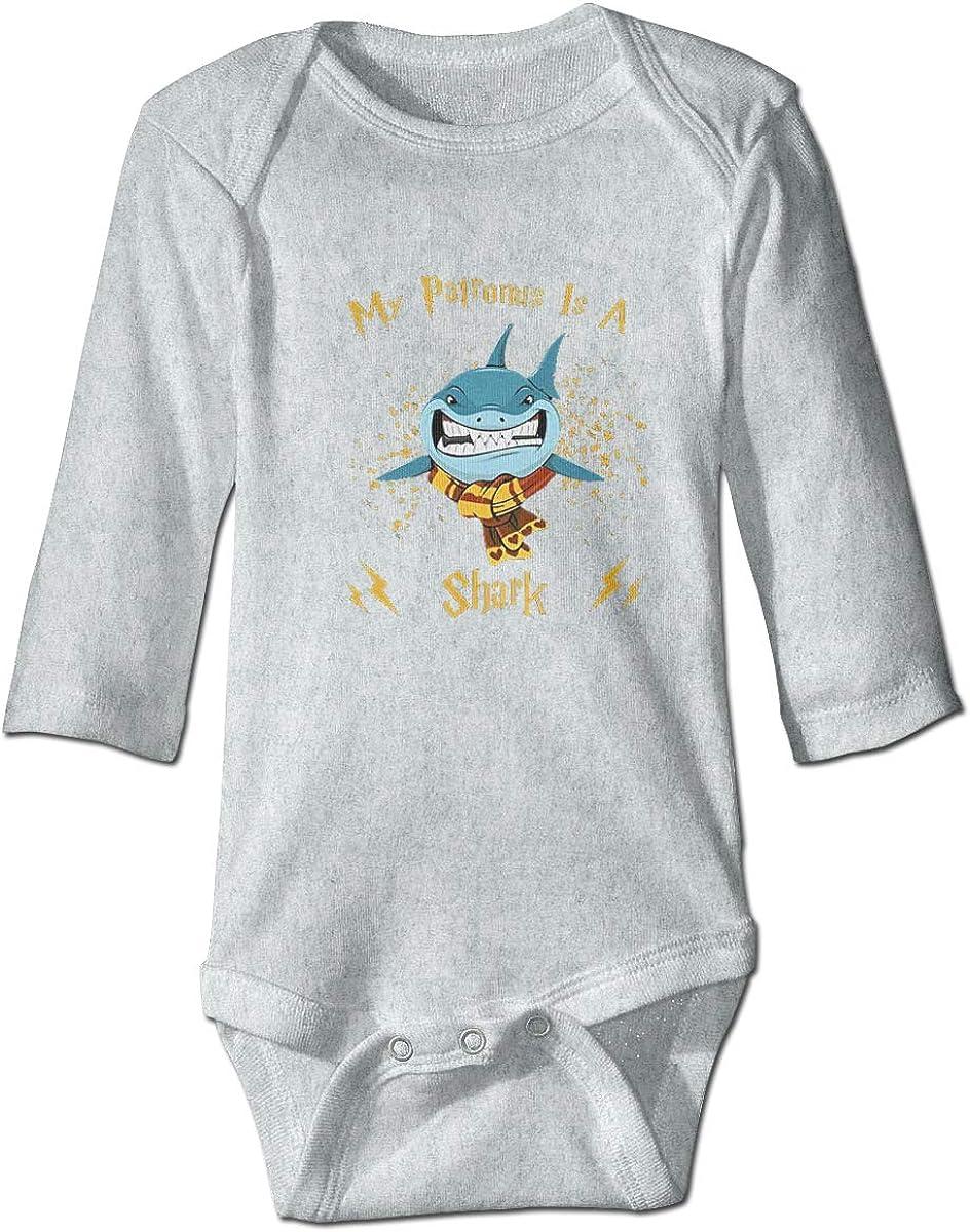 WUHAN1 My Patronus is a Shark Long Sleeve Bodysuit Gray