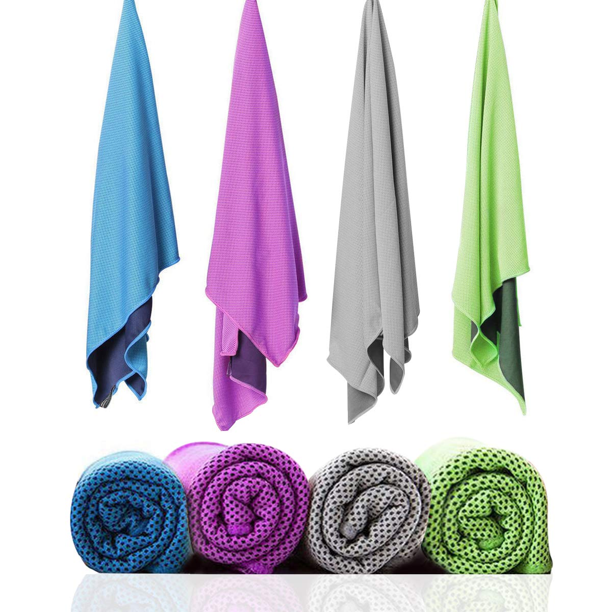 """SZELAM Cooling Towel, 4 Packs Ice Towel for Instant Cooling Relief, 40""""x12"""" Microfiber Breathable Stay Cool Towel for Yoga, Golf, Camping & More, Individually Wrapped with Pouch and Carabiner Clips"""