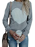 Sibylla Women Heart Pattern Patchwork Long Sleeve Round Neck Knits Sweater Pullover