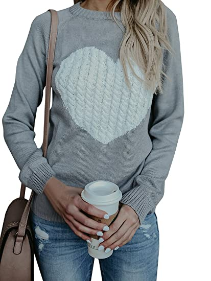 Womens Sweaters Cable Knit Heart Knitted Fall Chunky Pullover Sweater