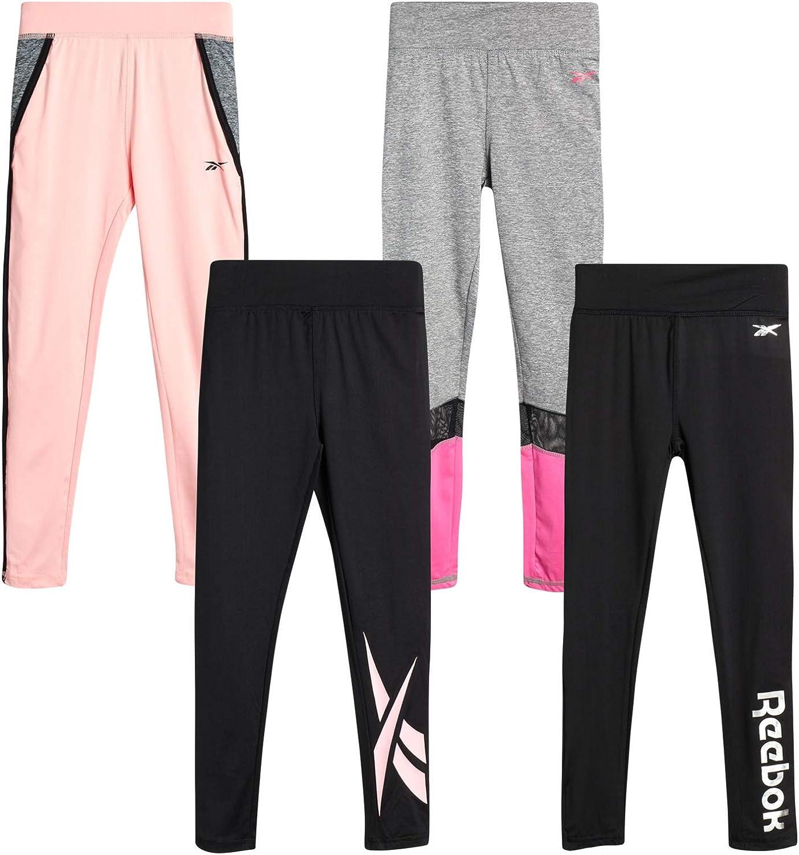Reebok Girls' Active Solid Color Legging Pants with Mesh Side Pocket (4 Pack): Clothing