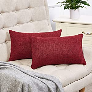 Anickal Set of 2 Burgundy Lumbar Pillow Covers Rustic Linen Decorative Throw Pillow Covers 12x20 Inch for Sofa Couch Decoration