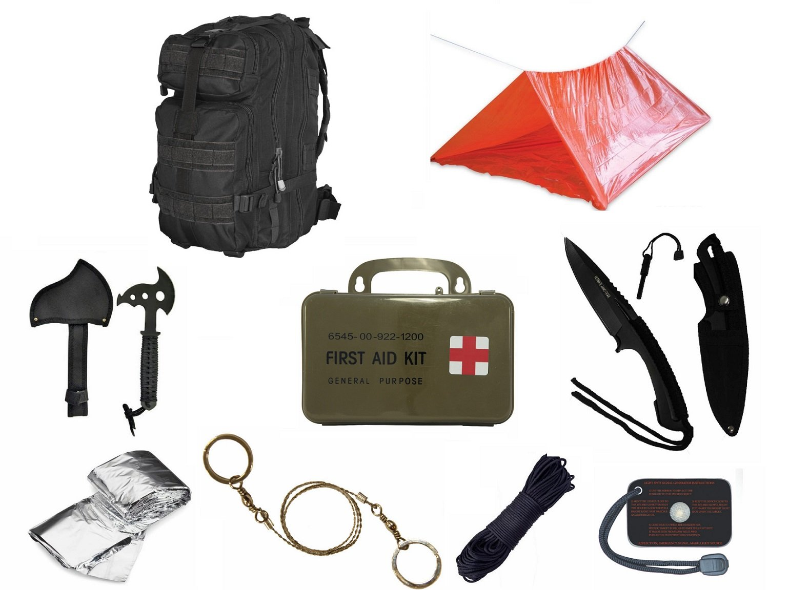 Ultimate Arms Gear Level 3 Assault MOLLE Black Backpack Kit; Signal Mirror, Polarshield Blanket, Knife Fire Starter, Wire Saw, Axe, 50' Foot Paracord, Camping Tube Tent & First Aid Kit