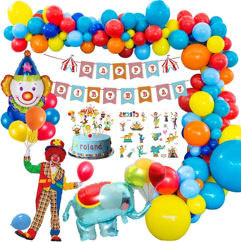 MMTX Carnaval Circo Decoración fiesta cumpleaños Niño, Feliz cumpleaños decoraciones Niña con Happy Birthday banderas, Elefante Payaso Globo para circo Parque de atracciones cumpleaños: Amazon.es: Juguetes y juegos