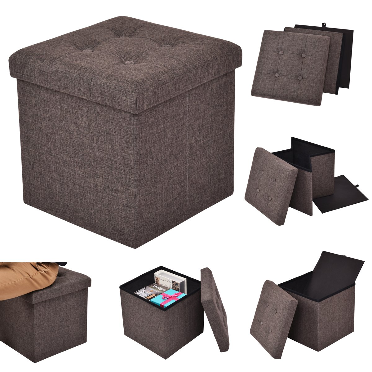 CASART Ottoman Single Seater - Single Seat Bench, Foldable Stool Box, Folding Storage Pouffe, Footstool with Fabric Materials and Removable Lid for Space-saving (Grey)