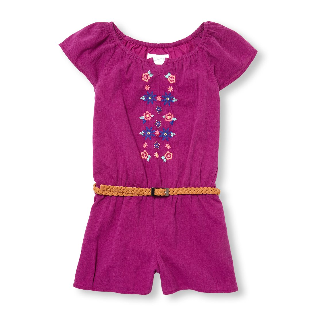 The Children's Place Big Girls' Short Sleeve Romper, Orchidzing 00863, S (5/6)