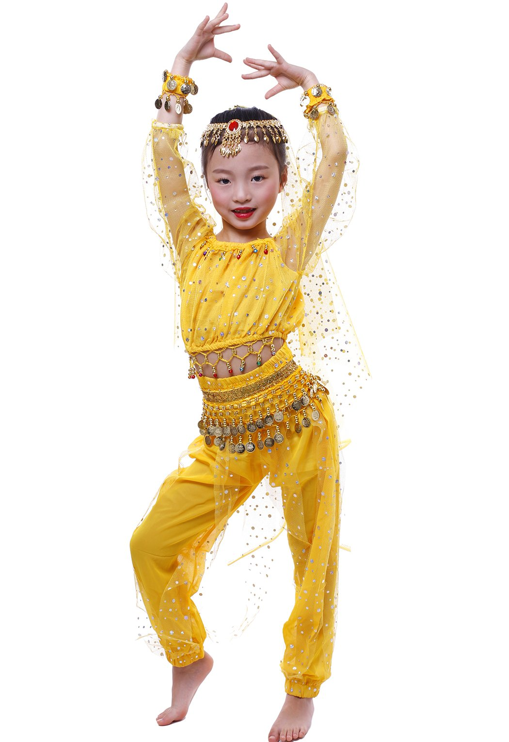 Astage Girl`S Belly Dance Costumes,Long Sleeve Highlights Top,Pants Yellow L(Fits 52in-57in)