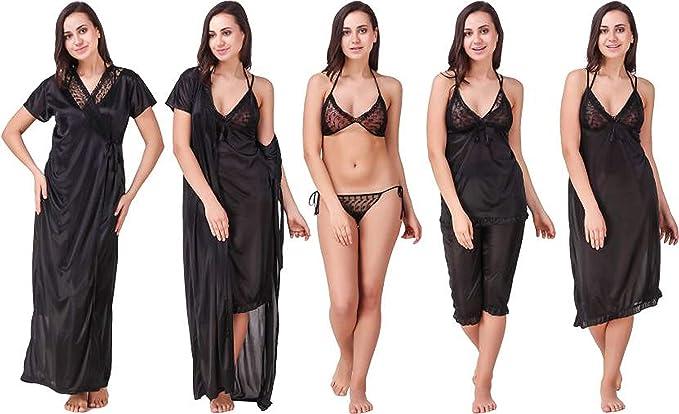 MILIT Women Satin Nightwear Night Dress Nighty Set of 6 Pcs Nighty ... 74efda50d