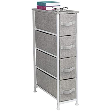 Sorbus Narrow Dresser Tower with 4 Drawers - Vertical Storage for Bedroom, Bathroom, Laundry, Closets, and More, Steel Frame, Wood Top, Easy Pull Fabric Bins (Gray)