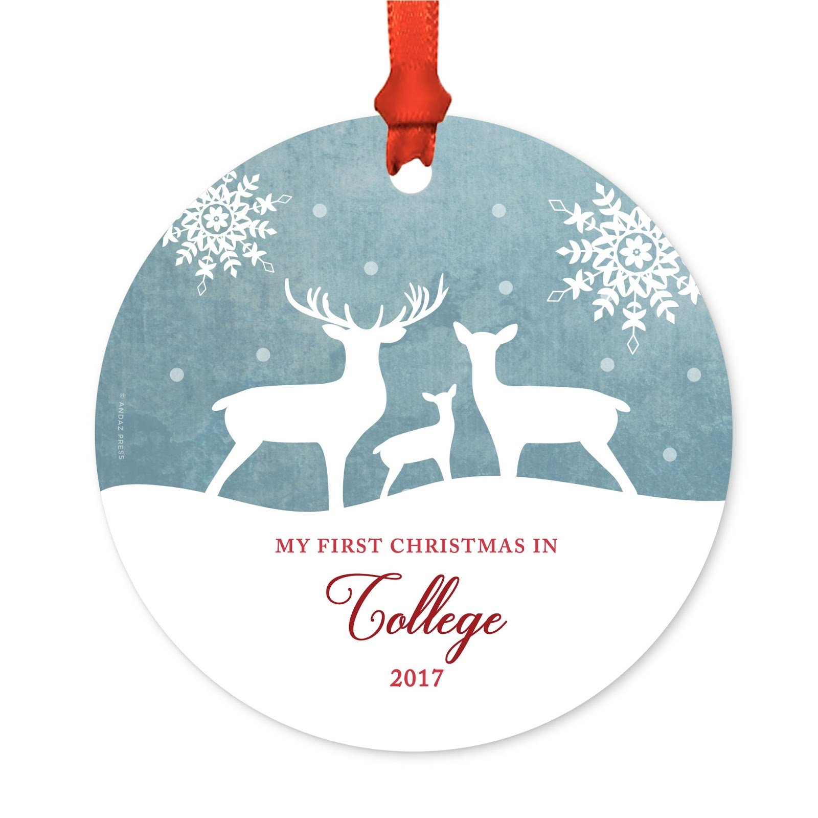 Andaz Press Graduation University Student Metal Christmas Ornament, My First Christmas in College 2018, Rustic Deer Winter Snowflakes, 1-Pack, Includes Ribbon and Gift Bag