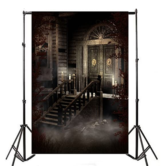 Amazon Com Laeacco Vinyl 6x8ft P Ography Background Old Victorian House Spooky Night Candles And Ornamented Door Scary Skulls Stone Stairway Halloween