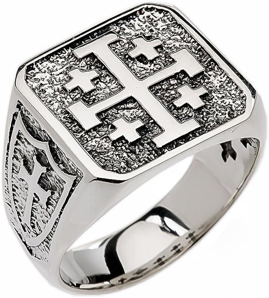Religious Jewelry by FDJ Men's Sterling Silver Jerusalem Cross Ring