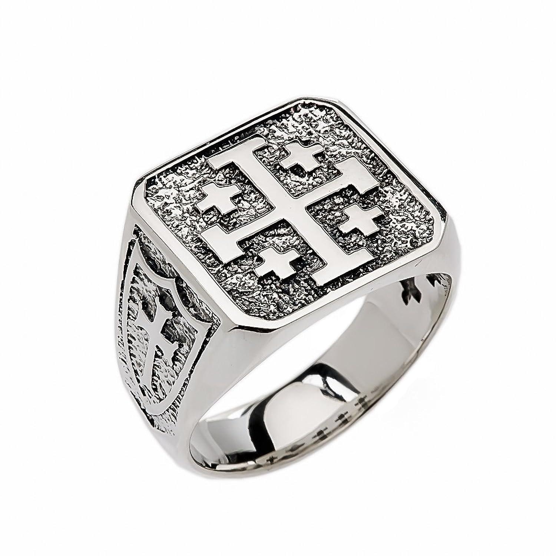 Men's Sterling Silver Jerusalem Cross Ring