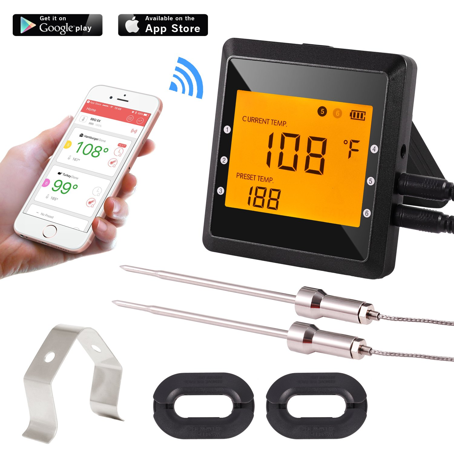 Bluetooth/Wireless Remote Digital Cooking BBQ thermometer Grill Thermometer Meat thermometer for barbecue,Oven,Somker.Large LCD Display Support IOS Android APP 2019s