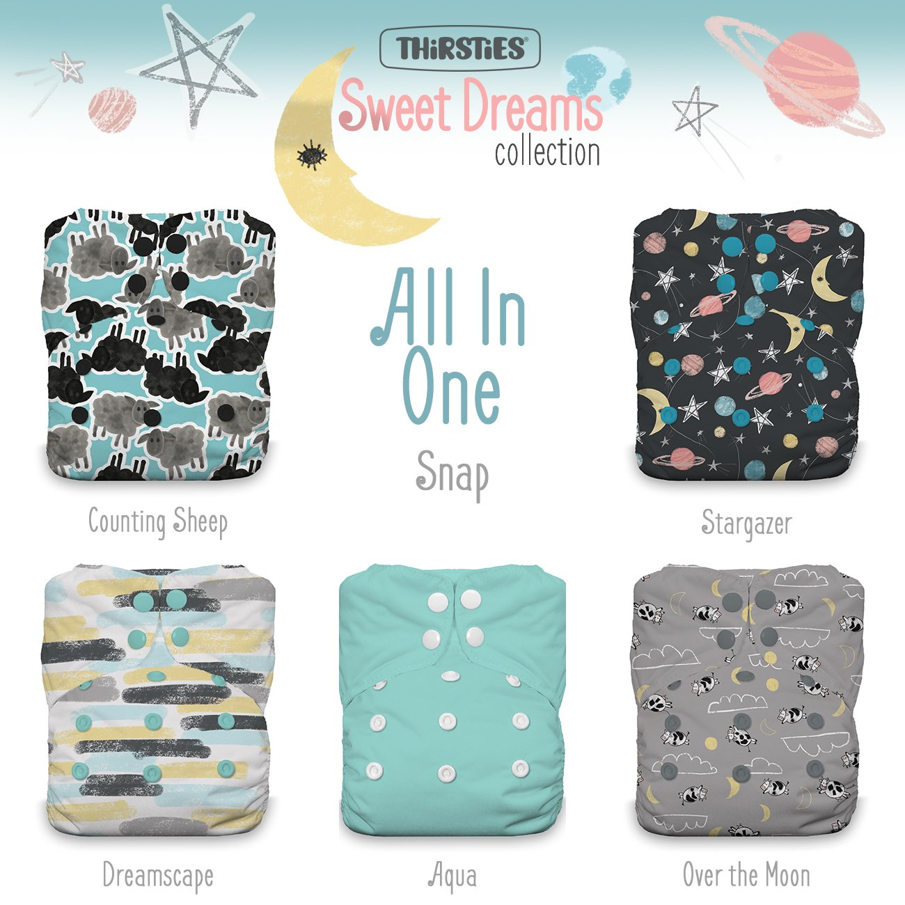 Thirsties TOSAIOPSSD Package Snap One Size All In One Sweet Dreams Collection Diapers