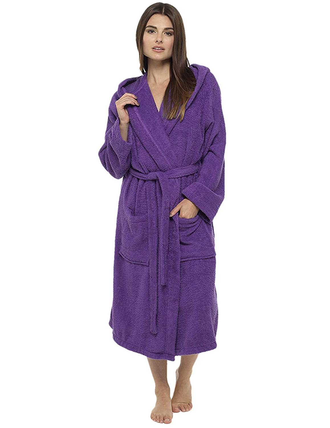 Ladies Robe Luxury Terry Towelling Cotton Dressing Gown Bathrobe ...