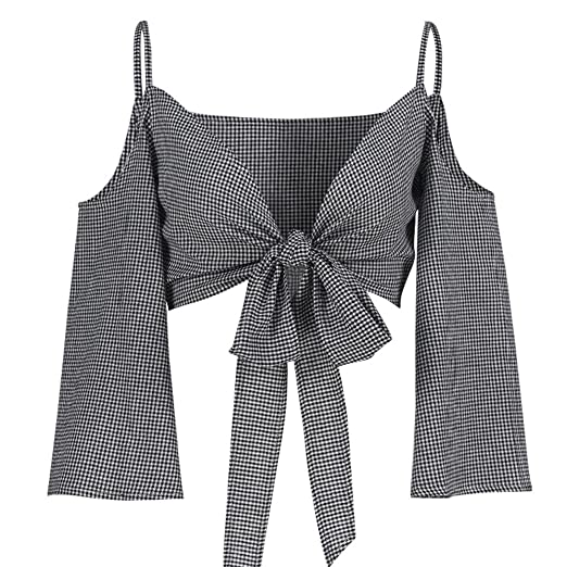 db7229520625e DMZing Plaid Tie-Front Crop Top Sexy Off-Shoulder Long Sleeve Shirt Icon  Chic
