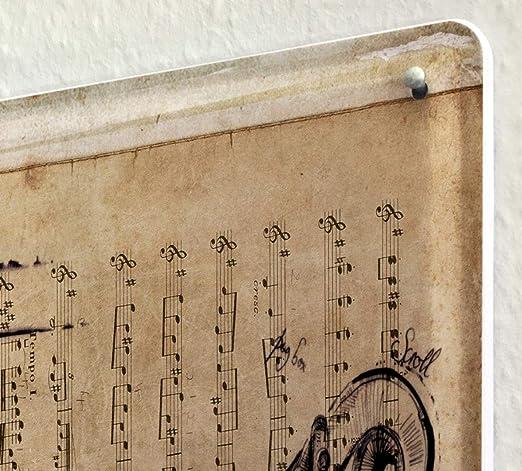 Tin Sign Deco Cinema Sheet music violin Metal Plate 8X12