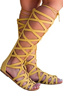 50fc98b65a6 Syktkmx Womens Knee High Strappy Lace Up Knotted Thong Flat Gladiator  Sandals