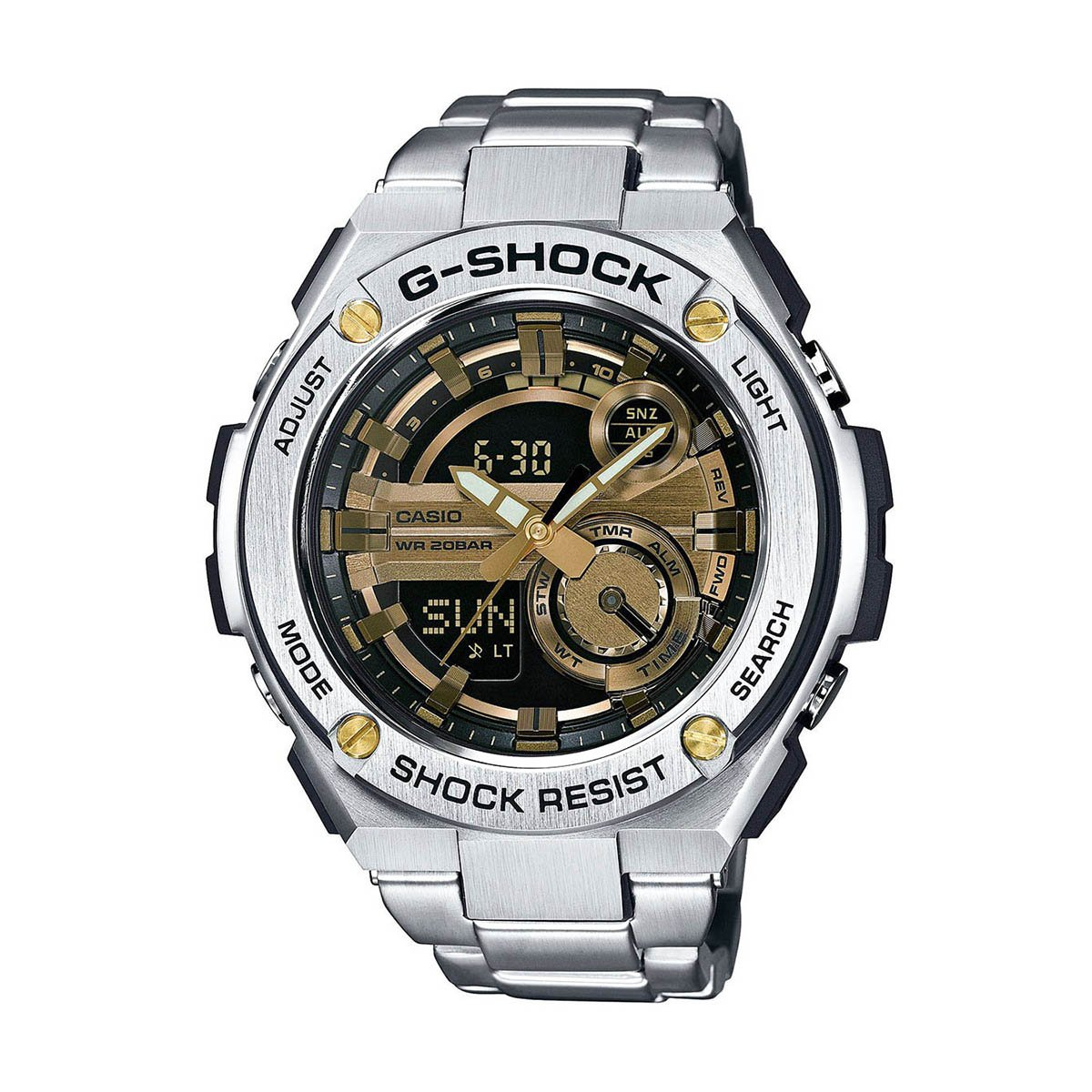 G-Shock GST-210D-9A G-Steel Series Luxury Watch - Silver/Gold / One Size