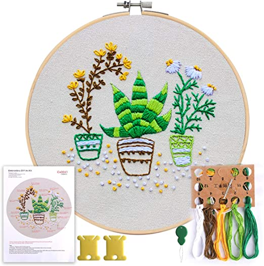 1 Bamboo Embroidery Hoop MEIAN Embroidery Kit for Beginners Adults Cross Stitch Patterns Starter Kits for Kids Including 1 Piece Embroidery Pattern Full Range of Embroidery Color Floss Kit