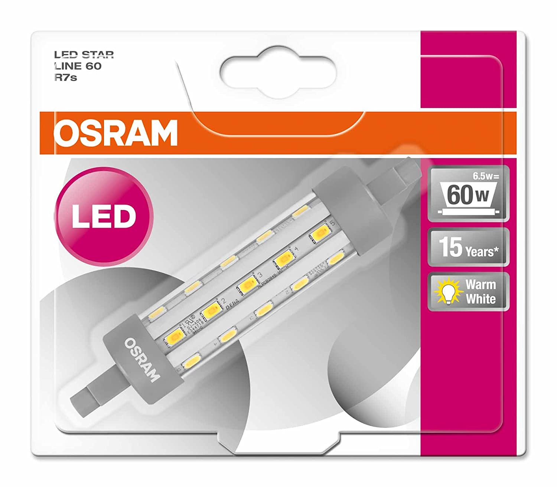 Osram Star Line R7S Lámpara LED 6.5 W, Blanco 1 unidad: Amazon.es: Iluminación