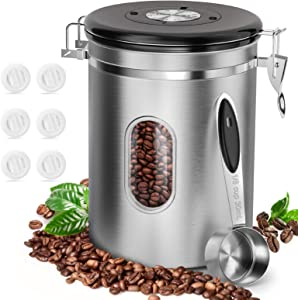 Coffee Food Canister with Scoop, HOKEKI Airtight Stainless Steel Food Jars Kitchen Container for Beans Grounds, Tea, Sugar Flour and Dry Goods Storage with Clear Window, 22oz (Silver)