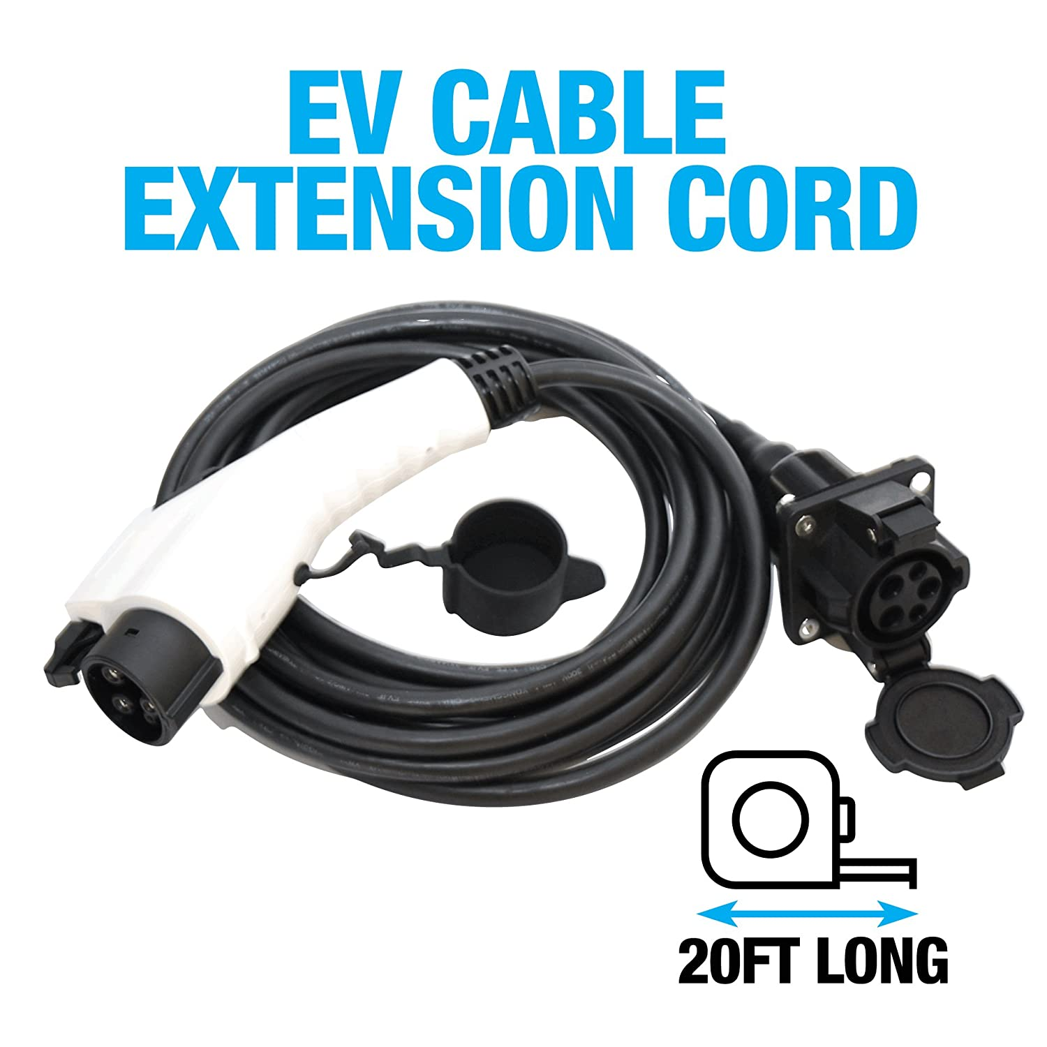 20 Ft Ev Charging Extension Cable By Gear Electric Range Extending Adding A 2nd Hv Battery Vehicle Cord Compatible With Any J1772 2009 Upgrades The