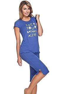 029fee96f5d08 e.FEMME - Ensemble de Pyjama - Femme Multicolore Ecru/Blau Taille S