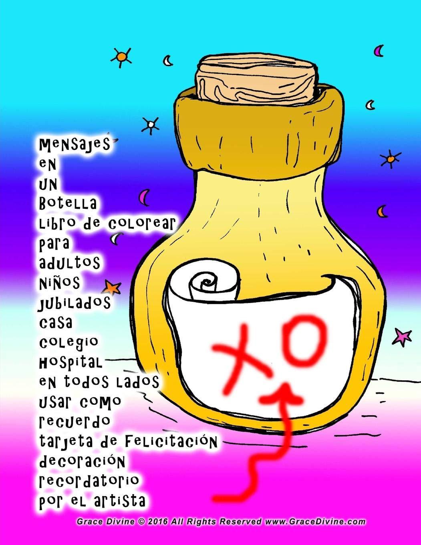 mensajes en un Botella libro de colorear para adultos niños ...