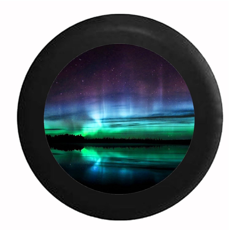 フルカラーAurora Borealis Over Alaskan水、Mountains and Night SkyジープRV Camperスペアタイヤカバー 35 Inch ブラック Tire-R315-35_Black B01LPN551Eブラック_フルカラー 35 Inch