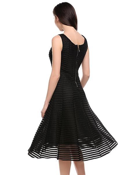 93e4ac50ebb3f8 Meaneor Damen Midi Kleid Abendkleid A Linie Kleid O-Ausschnitt Brautjungfer  Cocktailkleid Faltenrock Langes Abendkleid