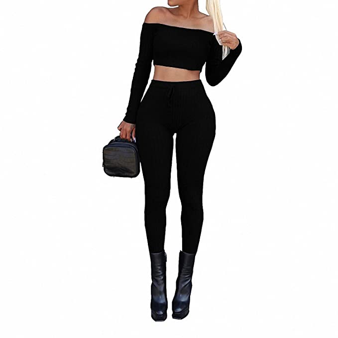 3890f1ebe387d8 Drawingo Kintted Off Shoulder Two Pieces Set Women Long Sleeve Crop Tops  and Slim Pants Sweat