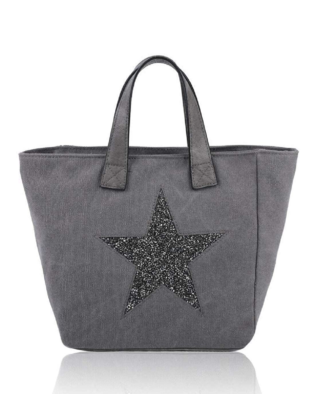 Dark Grey Womens Ladies Canvas Tote Handbag Glitter Star Pattern Party Shoulder Bag