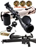 Ledsniper®riflescope 6-24x50 Aoe Red & Green & Blue Illuminated Mil-dot Adjustable Intensified Rifle Scope + Sunshade + Flip-up Caps + Rail Mounts