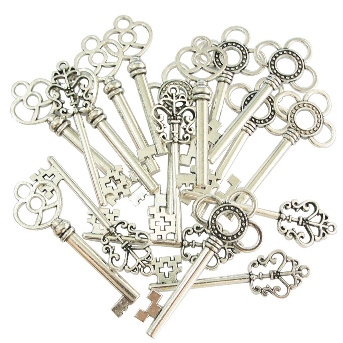 Mixed dise/ño de aspecto antiguo esqueleto teclas Fancy coraz/ón lazo collar colgantes plata Juego de 30