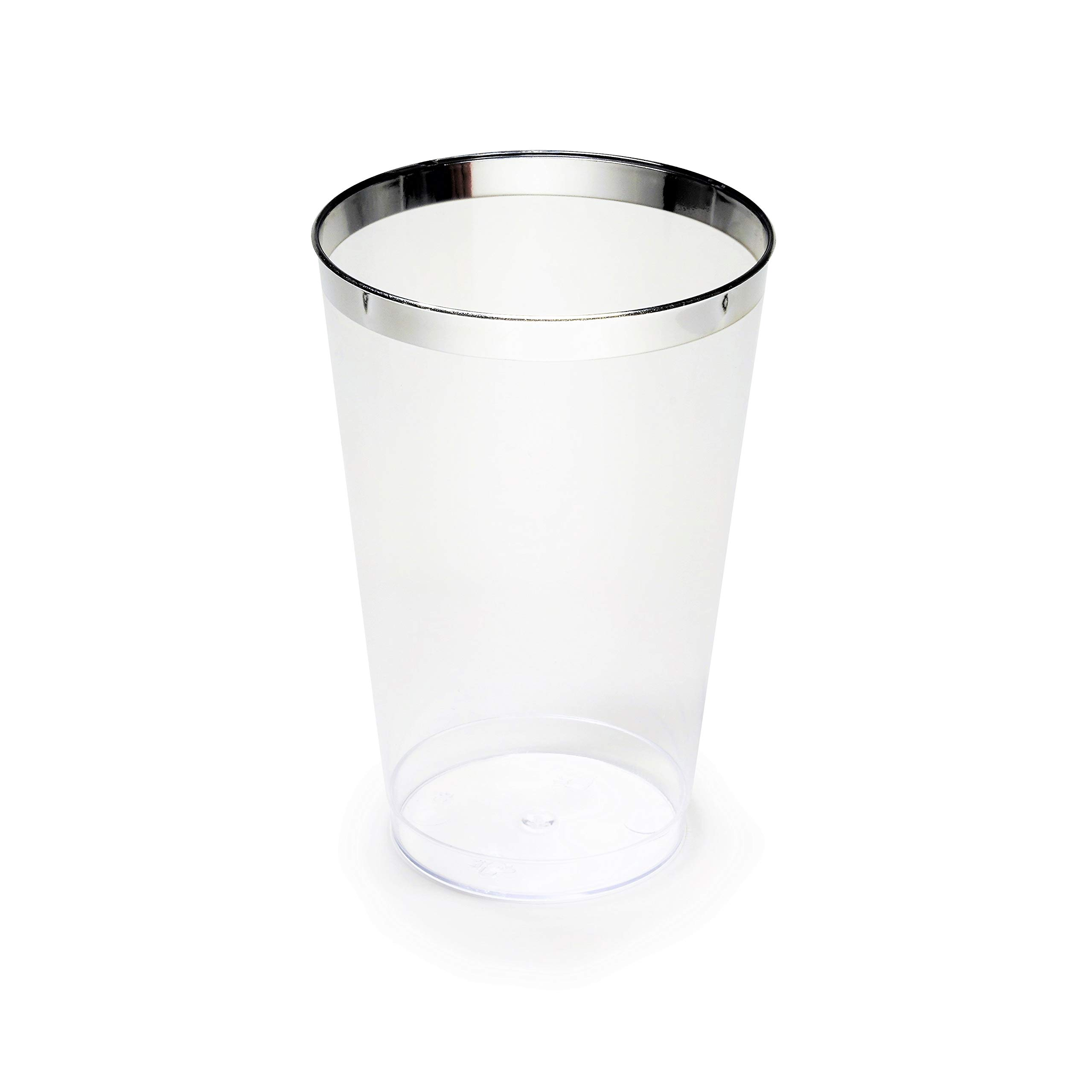 OCCASIONS Wedding Party Disposable Plastic Tumbler Cups (Silver Rimmed, 14 Oz Tumbler, 100 pcs)