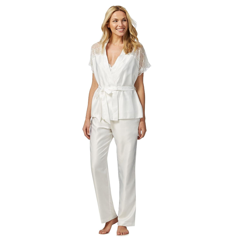 The Collection Womens Ivory Satin Lace Trim Three Piece Pyjama Set
