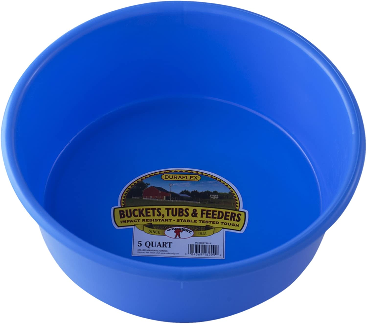 Little Giant Plastic Utility Pan (Berry Blue) Durable & Versatile Short Livestock Feeding Bucket (5 Quart) (Item No. P5BERRYBLUE)