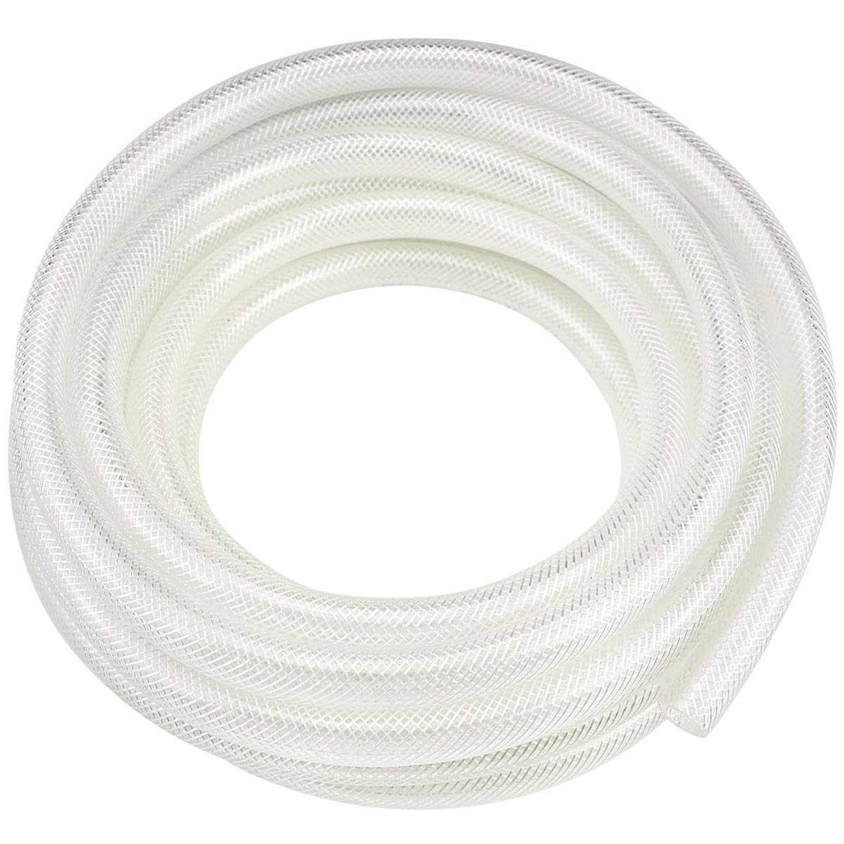 "1"" ID x 25 Ft High Pressure Braided Clear PVC Vinyl Tubing Flexible Vinyl Tube, Heavy Duty Reinforced Vinyl Hose Tubing, BPA Free and Non Toxic"